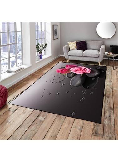 Halı Siyah Pembe Güllü Modern Dekoratif 3D Salon Halıları 80X150Cm Renkli